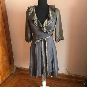 Theme gray green silky ruffle wrap dress